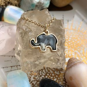Simple Marble Elephant Necklace